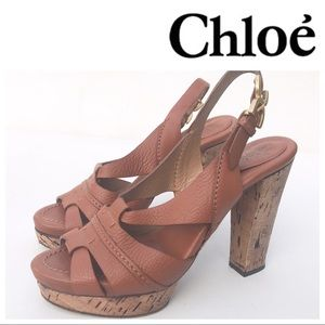 Chloe cork heels 37 7 cognac leather sandals